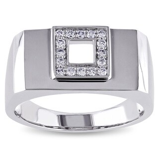 Miadora 14k White Gold Men's 1/5ct TDW Diamond Square Ring (G-H, SI1-SI2)