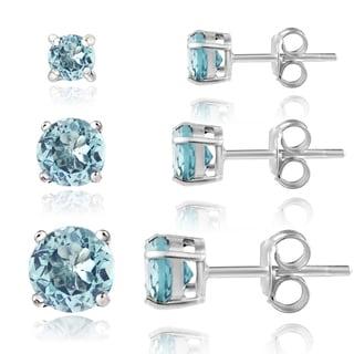 Glitzy Rocks Sterling Silver 2ct Blue Topaz Round Stud Earrings (Set of 3)