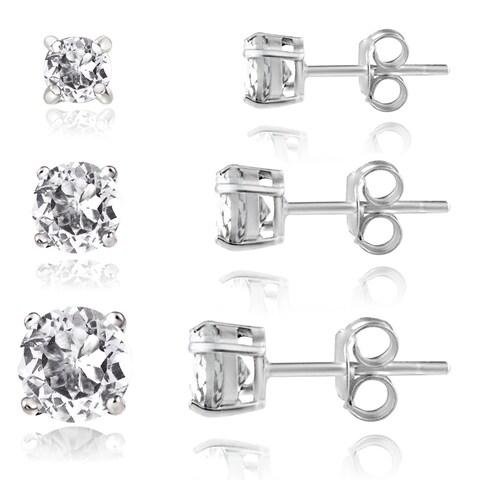 Glitzy Rocks Sterling Silver 2ct White Topaz Round Stud Earrings (Set of 3)