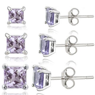 Glitzy Rocks Sterling Silver 1 4/5ct Amethyst Square Stud Earrings (Set of 3)