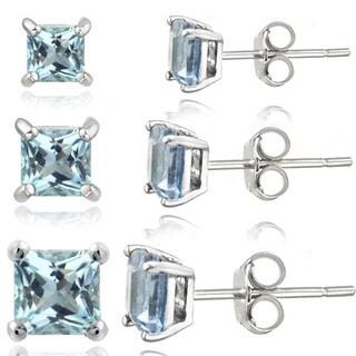 Glitzy Rocks Sterling Silver 2 7/8ct Blue Topaz Square Stud Earrings (Set of 3)