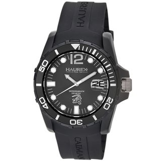 Haurex Italy Men's Caimano Collection Diver's Watch (Option: Red Band, Black Dial)