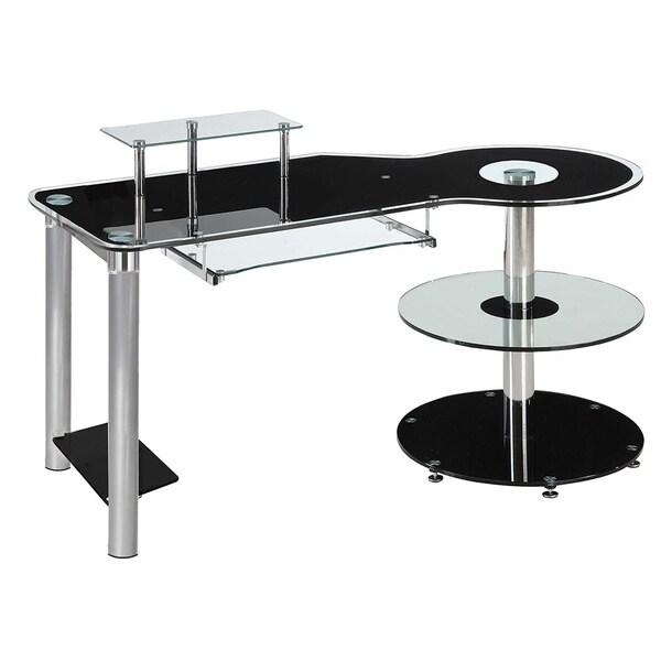 InnovEx Black/ Clear Glass Orbit Computer Desk