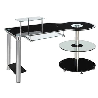 InnovEx Black/ Clear Glass Orbit Computer Desk