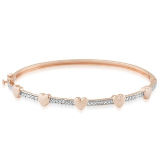 Finesque Rose Gold Overlay Diamond Accent Heart Design Bangle
