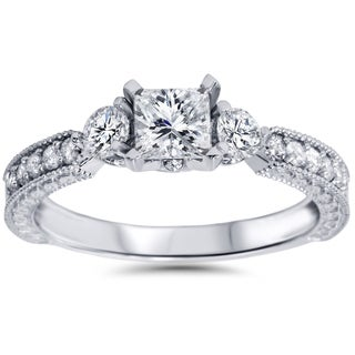 14k White Gold 1ct TDW Princess-cut Diamond Ring