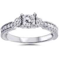 14k White Gold 1ct TDW Princess-cut Diamond Ring