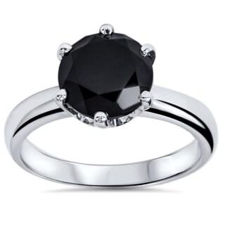 14k White Gold 2ct TDW Round-cut Black Diamond Solitaire Ring