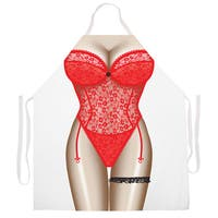 'Red Lingerie Kitchen Apron-Red