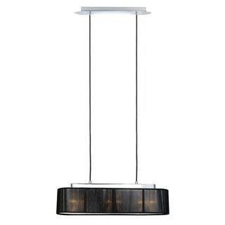 Fabienne Chrome Finish 3-light Pendant with Black Twine Shade