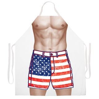 'American Flag Shorts Kitchen Apron-White