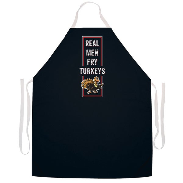 'Real Men Fry Turkeys' BBQ Grill Apron-Black