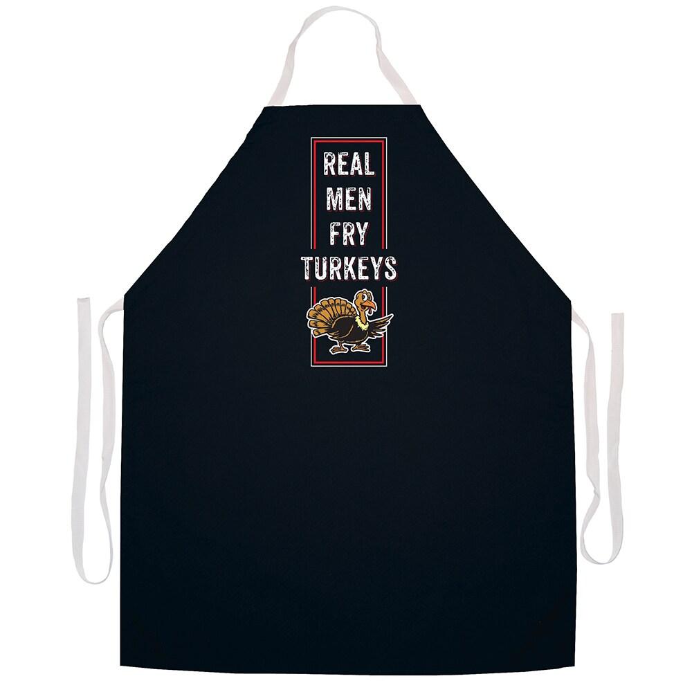 Attitude Aprons 'Real Men Fry Turkeys' BBQ Grill Apron-Bl...
