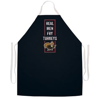 'Real Men Fry Turkeys' BBQ Grill Apron-Black
