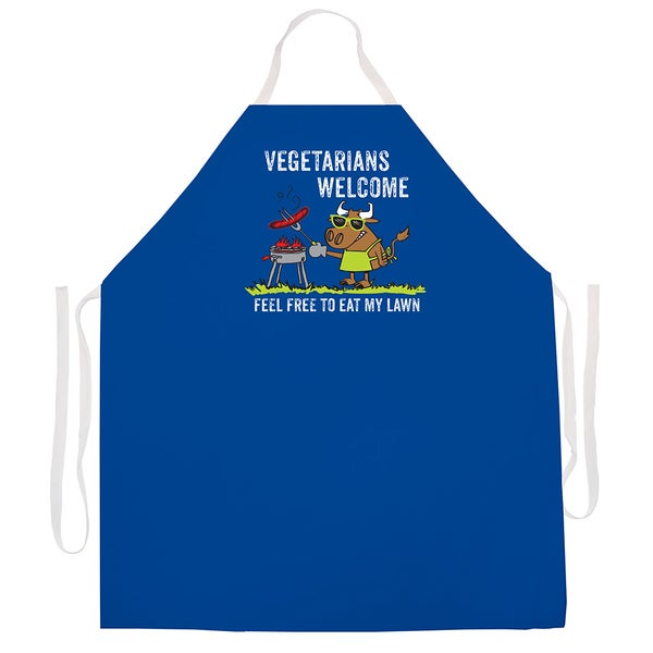 'Vegetarians Welcome Feel Free To Eat My Lawn' BBQ Grill Apron-Blue