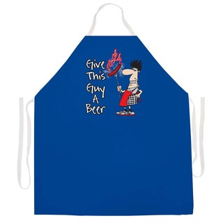 'Give this Guy a Beer' BBQ Grill Apron-Blue