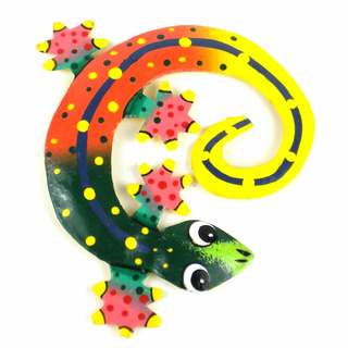 Hand Painted Round Metal Gecko Sunset Design , Handmade in Haiti