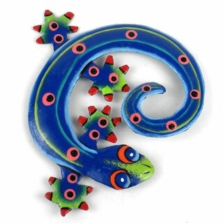 Hand Painted Round Metal Gecko Blue Green Design , Handmade in Haiti