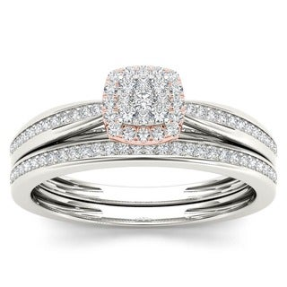 De Couer 10k Two-tone Gold 1/4ct TDW Diamond Cushion Shape Bridal Set (H-I, I2)