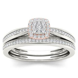 De Couer 10k Two-tone Gold 1/4ct TDW Diamond Cushion Shape Bridal Set https://ak1.ostkcdn.com/images/products/9463442/P16646563.jpg?impolicy=medium