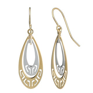 Fremada 10k Two-tone Gold Teardrop With Cut-outs Dangle Earrings