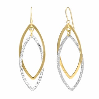 Fremada 10k Two-tone Gold Textured and High Polish Overlapping Marquise Dangle Earrings