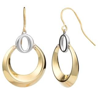 Fremada 10k Two-tone Gold Graduated Circle Dangle Earrings