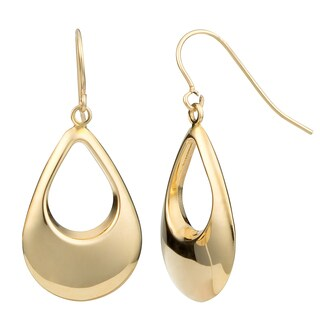 Fremada 10k Yellow Gold High Polish Puffed Teardrop Dangle Earrings