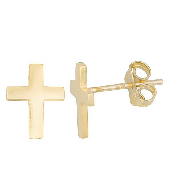 Fremada 10k Yellow Gold High Polish Petite Cross Post Earrings