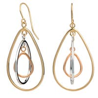 Fremada 10k Tri-color Gold High Polish Graduated Teardrop Dangle Earrings