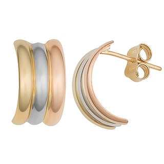 Fremada 10k Tri-color Gold High Polish Half Hoop Earrings