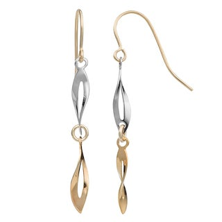 Fremada 10k Two-tone Gold Twisted Marquise Dangle Earrings