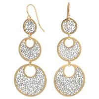 Fremada 10k Two-tone Gold Floral Cut-outs On Graduated Circles Dangle Earrings
