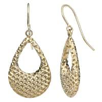 Fremada 10k Yellow Gold Puffed Teardrop Diamond-cut Earrings