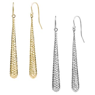 Fremada 10k Gold Teardrop Diamond-cut Dangle Earrings