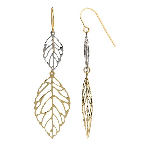 Fremada 10k Two-tone Gold High Polish Big and Small Leaves Drop Earrings