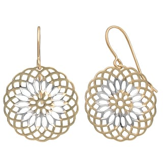 Fremada 10k Two-tone Gold Round Floral Dangle Earrings