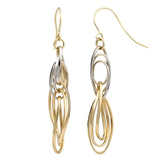 Fremada 10k Two-tone Gold High Polish Overlapping Twisted Ovals Dangle Earrings