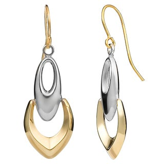 Fremada 10k Two-tone Gold Oval On Open Shield Dangle Earrings