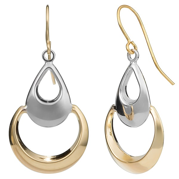 Fremada 10k Two-tone Gold Teardrop On Open Circle Dangle Earrings