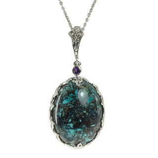 Dallas Prince Chrysocolla, Mother of Pearl, and Amethyst Pendant Necklace