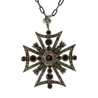 Dallas Prince Sterling Silver Garnet and Marcasite Maltese Cross Pendant