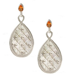 Dallas Prince Sterling Silver Madeira Citrine and Mother of Pearl Drop Earrings