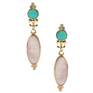 Dallas Prince Gold over Silver Amazonite, Pink Mother of Pearl and Topaz Earrings