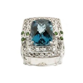 Dallas Prince Sterling Silver London Blue Topaz, Chrome Diopside and Marcasite Ring