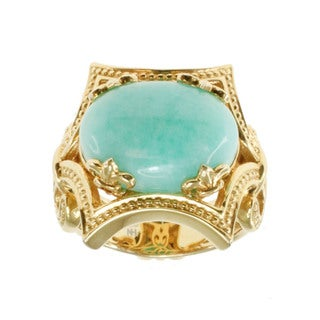 """Dallas Prince Gold Over Silver Amazonite """"East West"""" Ring"""
