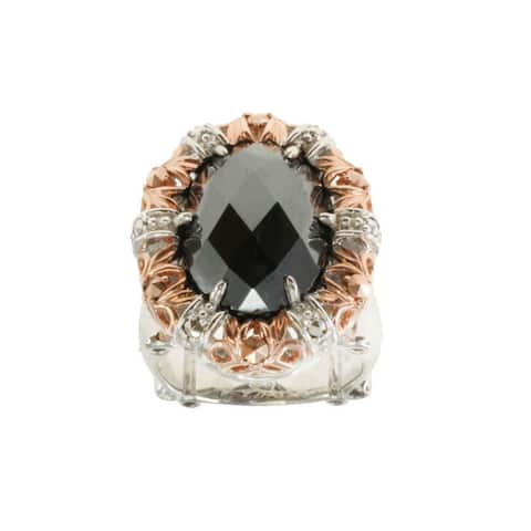 Dallas Prince Sterling Silver Hematite and Marcasite Ring