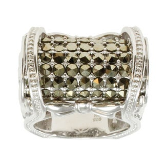 Michael Valitutti Sterling Silver Austrian Crystal Marcasite Ring