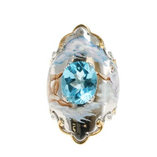 Michael Valitutti Hand-painted Sterling Silver Topaz Ring