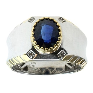 Michael Valitutti Men's Palladium Silver 1/5ct TDW Diamond and Kyanite Ring (D-E)
